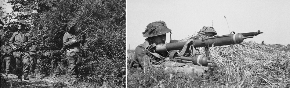 british soldiers fighting patrol normandy