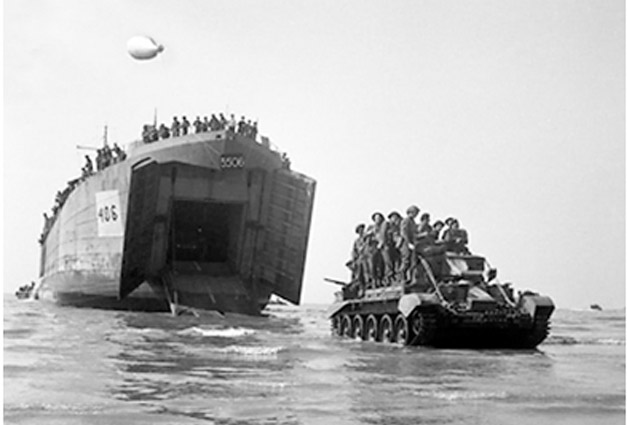 LST offloading Bren Carriers at Salerno