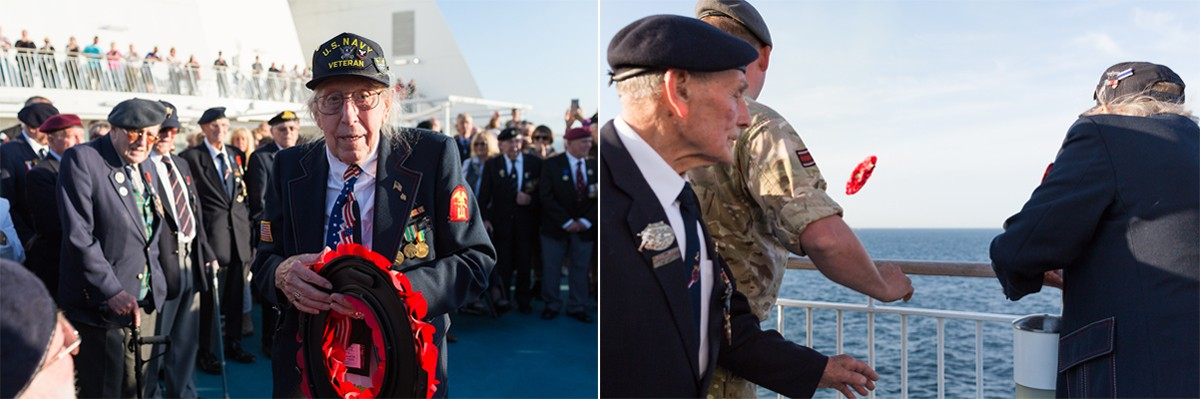 D-Day Veterans lay wreath at sea